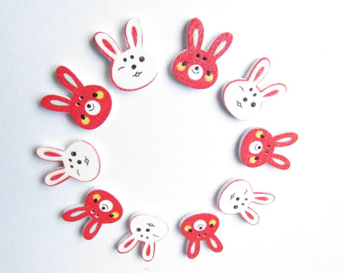 10 Red and White Easter bunny buttons - Craft bunny buttons - Bunny rabbit buttons - Scrapbooking embellishments - Easter bunnies