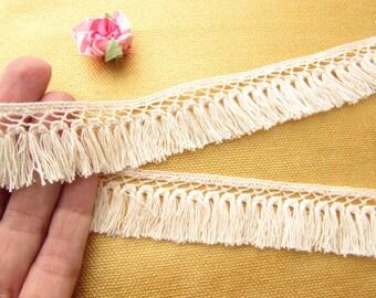 1.5 yds Cotton fringe trim - Boho tassel fringe trim - Cream fringe trim - Cotton sew fringe trim - Sew on fringe - Boho Gipsy fringe trim