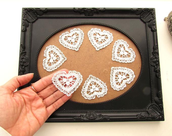 10 White lace hearts Bridal lace appliques Lace hearts White lace appliques White lace sewing  appliques Wedding invitation lace hearts