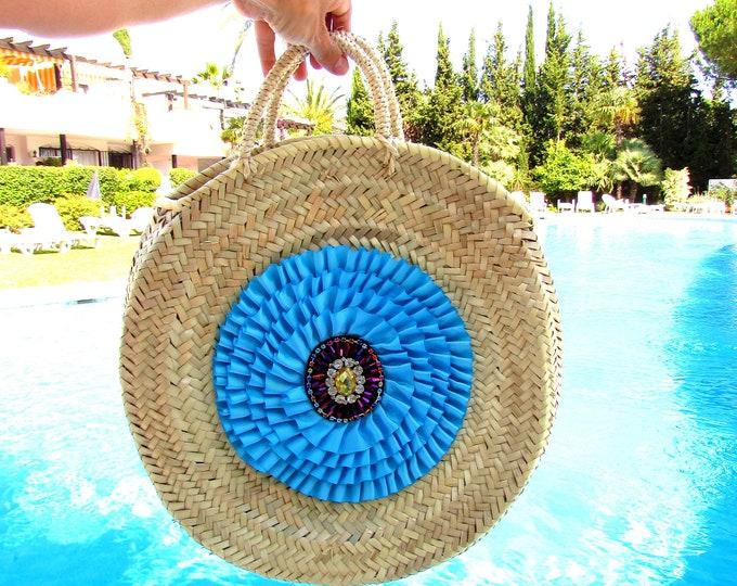 Round straw bag  Large round basket  Beach woven straw basket  Pink pom pom market basket  Round handbag French straw bag round