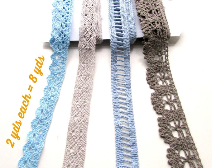 Cotton crochet lace remnants 8 yds  Shabby lace trim lot  Shabby chic junk journal remnants  Mixed media lace snippets Blue Grey Taupe lace