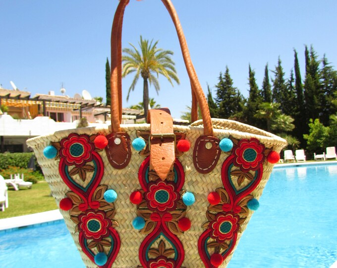 Straw handbag with leather straps and buckle, Small Ibiza style straw bag, Straw tote, Summer bag, Wicker handbag, Summer straw handbag