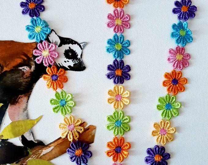 Flower lace trim by the yard, Daisy multicolour flower lace, Flower trim, Venise lace trim, Embroidered lace, Hat trim, Lamp trim