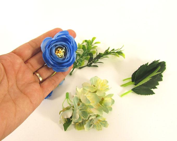 Artificial flowers blue flowers  Fake flowers  Silk Ranunculus with 2 types of greens DIY flower wreaths flower crowns Mixed flowers