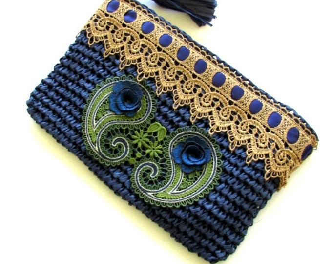 Clutch pouch bag, Raffia blue clutch handbag, Faux raffia holliday pouch purse, Boho-gipsy purse,  OOAK evening purse, Bohemian pouch bag