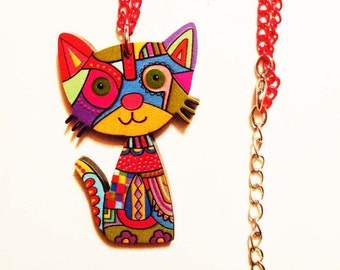 Cat Necklace Pet Gifts Cat Lovers Gift Girl Necklace Cat Pendant Kids Jewelry Kids Necklace Cute Cool Kawaii Necklace Funky Funny Pink