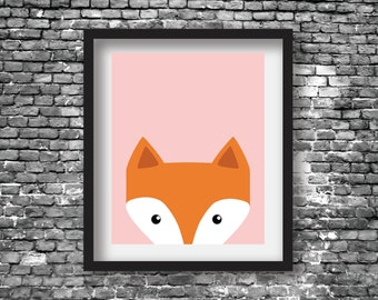 Fox +++ Pink +++ Nursery +++ Printable Digital Download +++ PDF & JPEG Files