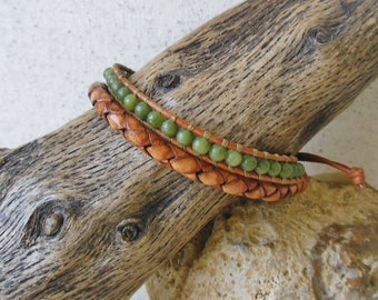 Mens Woven Leather & Jade Bracelet/Unique Mens Bracelet/Masculine Bracelet/Good Luck Bracelet/3rd and 12th Anniversary/Gift for Him