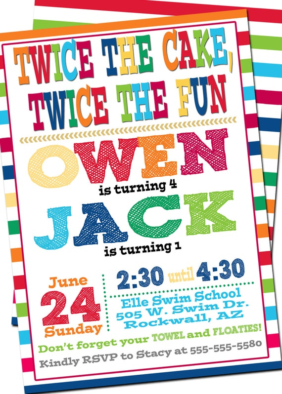 bright joint birthday invitation combined birthday double etsy