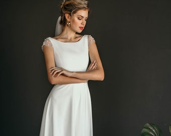 "Minimal and elegant wedding dress ""Mele"", modern modest wedding gown with crepe bodice, A line skirt, bateau neck, cap sleeves with pearls"