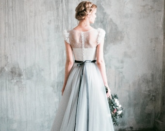 "Romantic grey wedding dress ""Neva"", lace and tulle a-line wedding gown, corset bodice, long dress with delicate chiffon 3d flowers, milamira"