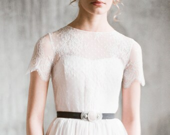 "Short sleeve wedding dress ""Ingoda"", column wedding dress with lace sleeves, chiffon wedding gown, modest dress, rustic wedding, milamira"