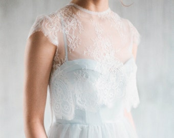 "Sample SALE - US2  Blue wedding gown ""Aley"", boho wedding dress with separate lace jacket, wedding dress with cap sleeves, a-line tulle"