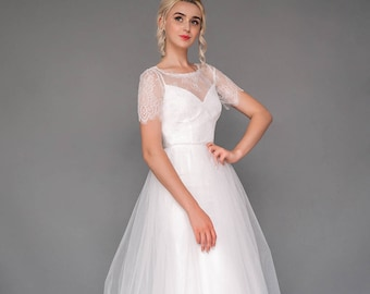 """Set of wedding separates """"Gemma"""", short sleeve wedding dress, lace and tulle wedding gown, slip dress, a line tulle skirt"""