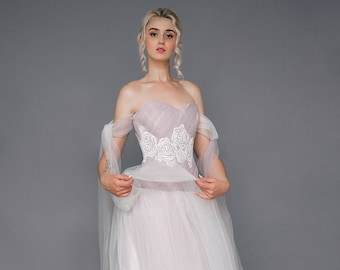 "Sample SALE - US2  princess tulle wedding dress ""Aprilia"", wedding gown in grey pink color with flower embroidery on corset"