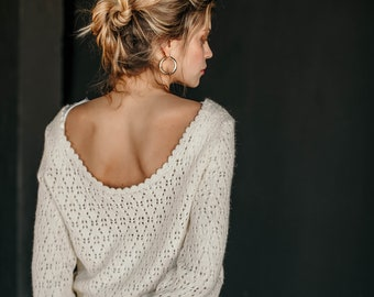 "Bohemian bridal sweater ""Mahana"", 100% fine wool, ivory color, warm yet breathable, low cut open back, boho wedding sweater, handmade, eco"