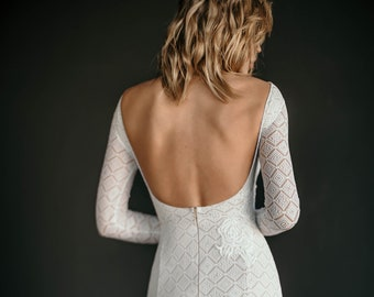 "Sexy mermaid wedding dress ""Ohana"", geometric pattern stretch lace trumpet wedding gown, long sleeves, open back, embroidery with sequins"