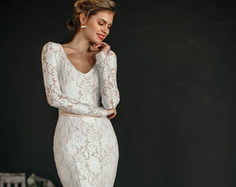"Sexy trumpet wedding dress ""Laguna"", floral stretch lace wedding gown, long sleeves, elegant sheer back, round neckline, long lace train"