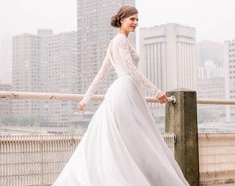 8dbd8f4879 SIYANA (SAMPLE)    US2 - Romantic lace wedding dress with long lined lace  sleeves and V-shaped back