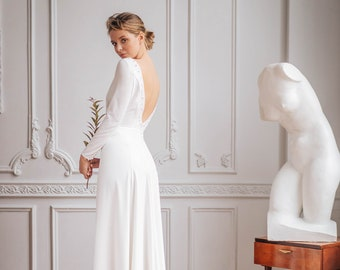 SONNET // Deep V-back minimalist wedding dress with exquisite pearl beading, modest wedding gown with long sleeves, boat neck and slit skirt