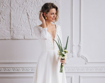 ELEGY // V-neckline modest wedding dress with exquisite pearl beading, minimalist wedding gown with 3/4 sleeves and closed back, milamira
