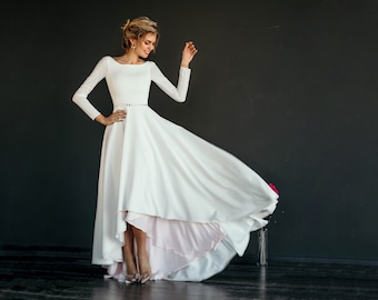 "High low skirt simple wedding dress ""Makani"", crepe bodice with long narrow sleeves, A line skirt, skirt color lining, scoop back, modest"