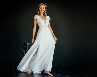 "Minimalistic wedding dress ""Aloha"", modern bridal gown with cap sleeves, a-line skirt with slit, deep plunging v-neck, modest wedding dress"