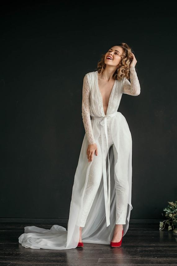 Bridal Jumpsuit Manu Sexy And Sleek Lace Wedding Jumpsuit Bridal Jumpsuit Fitted Leg Long Lace Sleeves Draped Bodice With V Neck