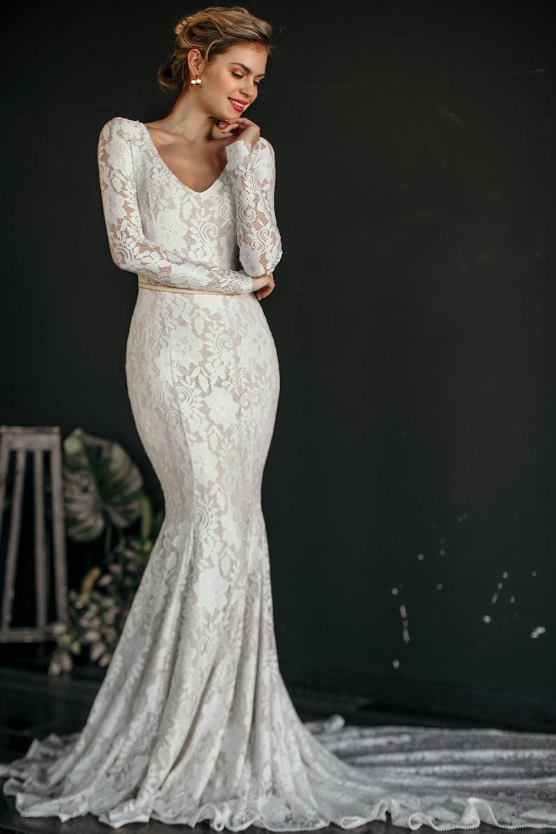 8e4edd144f0 LAGUNA    Sexy trumpet wedding dress bohemian wedding dress