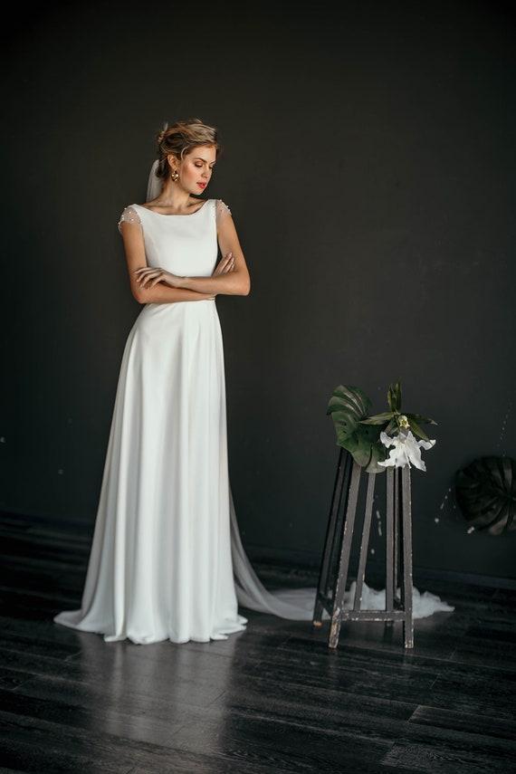 Minimal Wedding Dress | Mele Minimal And Elegant Wedding Dress Modern Modest Etsy