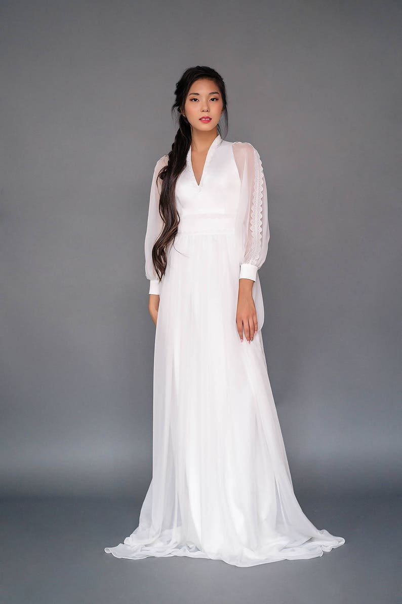 d657f2241700 JAWA SAMPLE // US2 Modest wedding dress with bell sleeves | Etsy