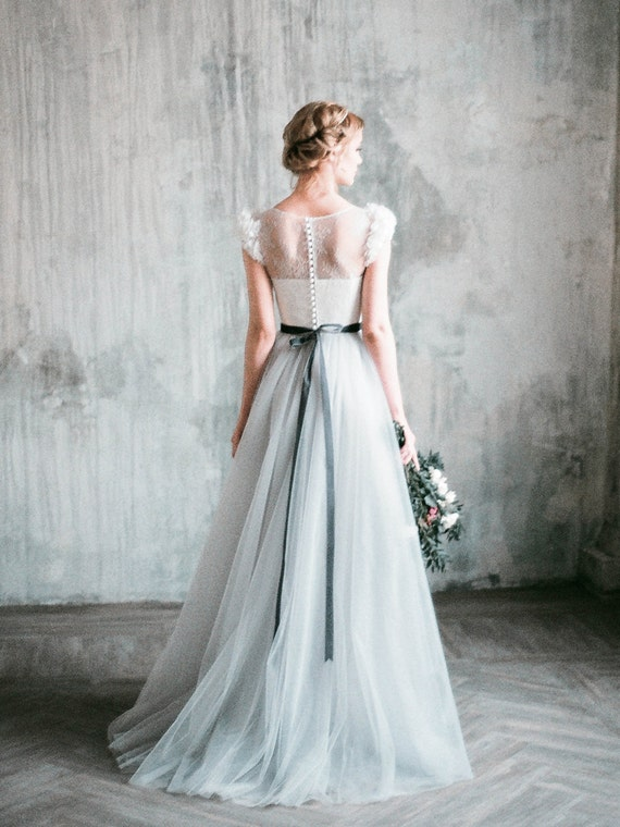 Wedding dress NEVA // Romantic grey wedding dress, lace and tulle a-line  wedding gown, corset, dress with delicate chiffon flowers, milamira