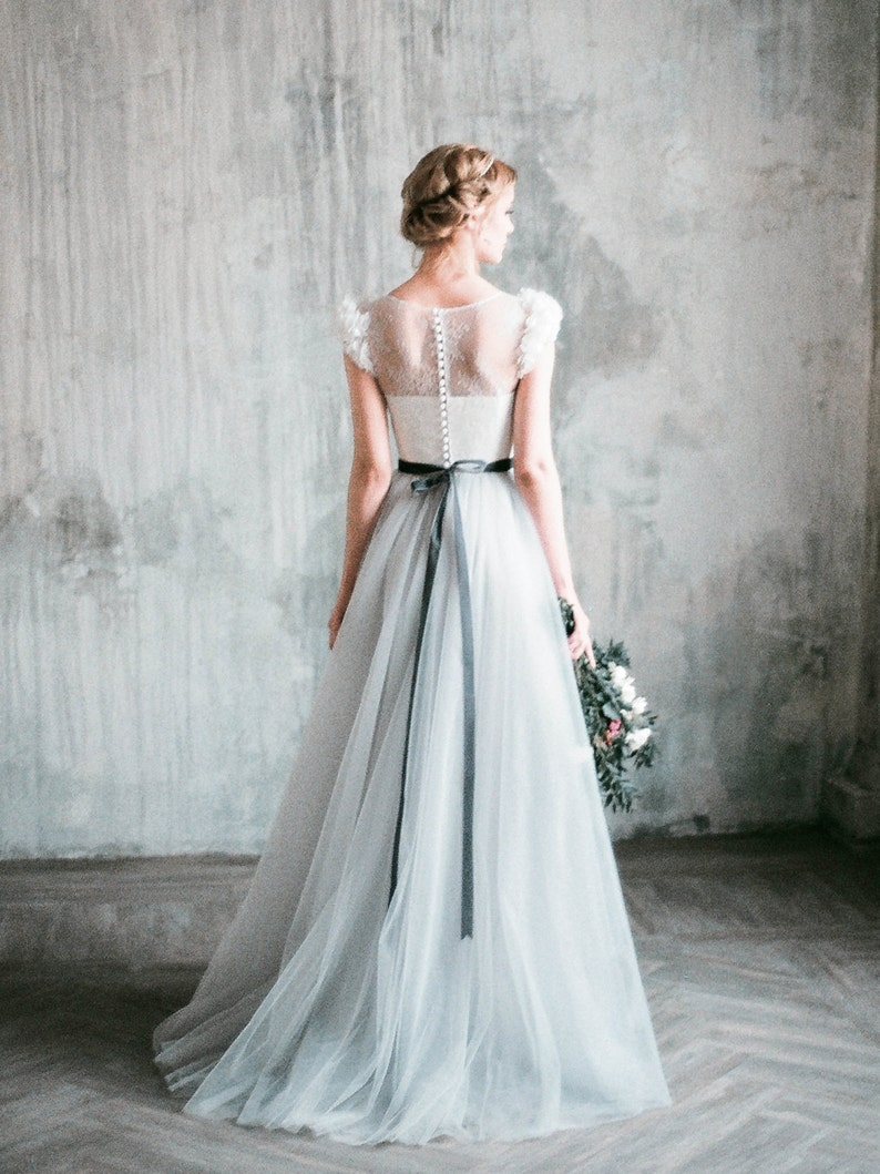 Neva Romantic Grey Wedding Dress Lace And Tulle A Line Wedding Gown Corset Bodice Long Dress With Delicate Chiffon Flowers Milamira