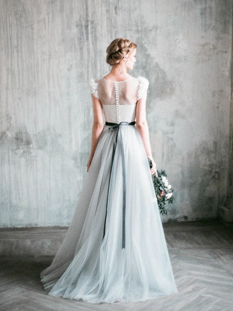 0047de10d3 NEVA // Romantic grey wedding dress lace and tulle a-line | Etsy