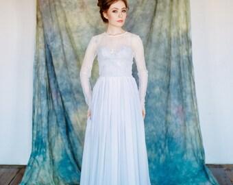 "Sample SALE - US0, US4 Lace wedding dress ""Pegasus"", grey wedding gown, separate lace jacket, romantic wedding dress, bohemian wedding dress"