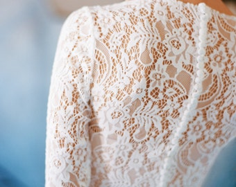 "Sample SALE - US6 Long sleeve lace wedding dress ""Orion"", boho wedding, corset bridal gown, simple modest wedding dress, winter wedding"