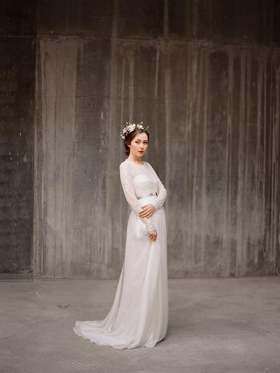 Long sleeve lace wedding dress Rufina bohemian | Etsy