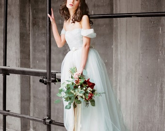 "Tulle wedding dress with off shoulder sleeves ""Arsenia"", classic bridal gown, blue grey wedding dress, low back wedding dress, Milamira"