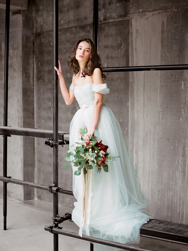 859e376a5b ARSENIA    Tulle wedding dress with off shoulder sleeves