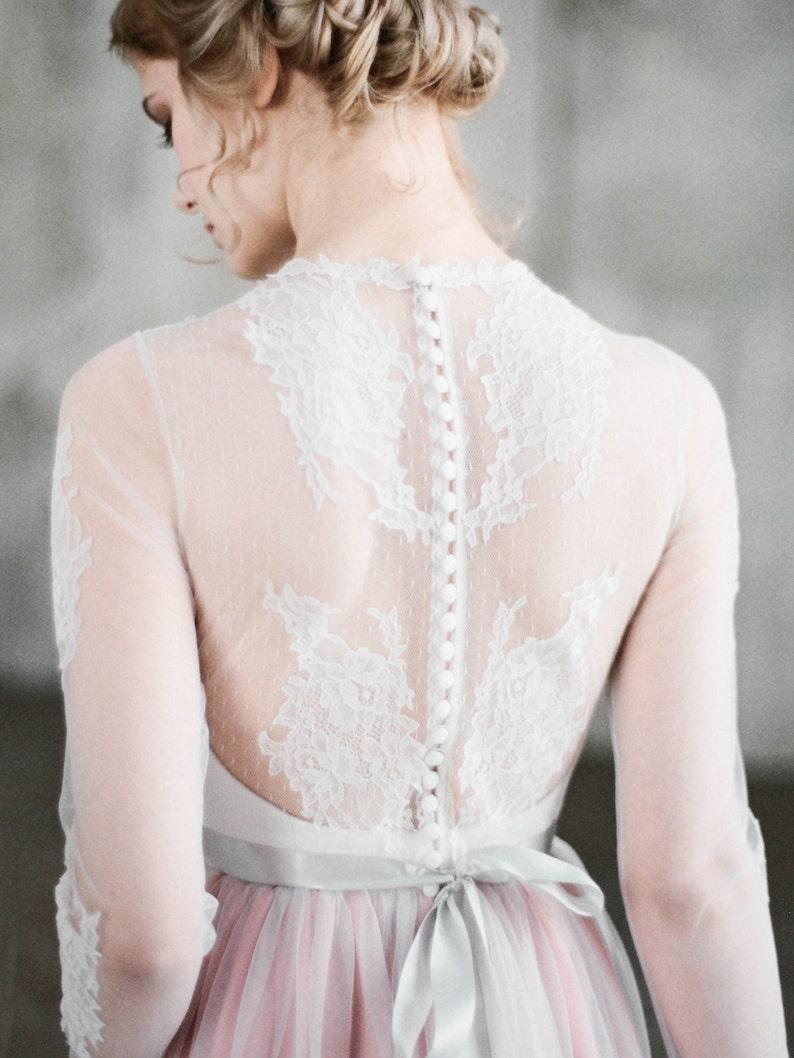 d7e068727e6 MAYA     Long manches robe de mariée robe de mariée rose