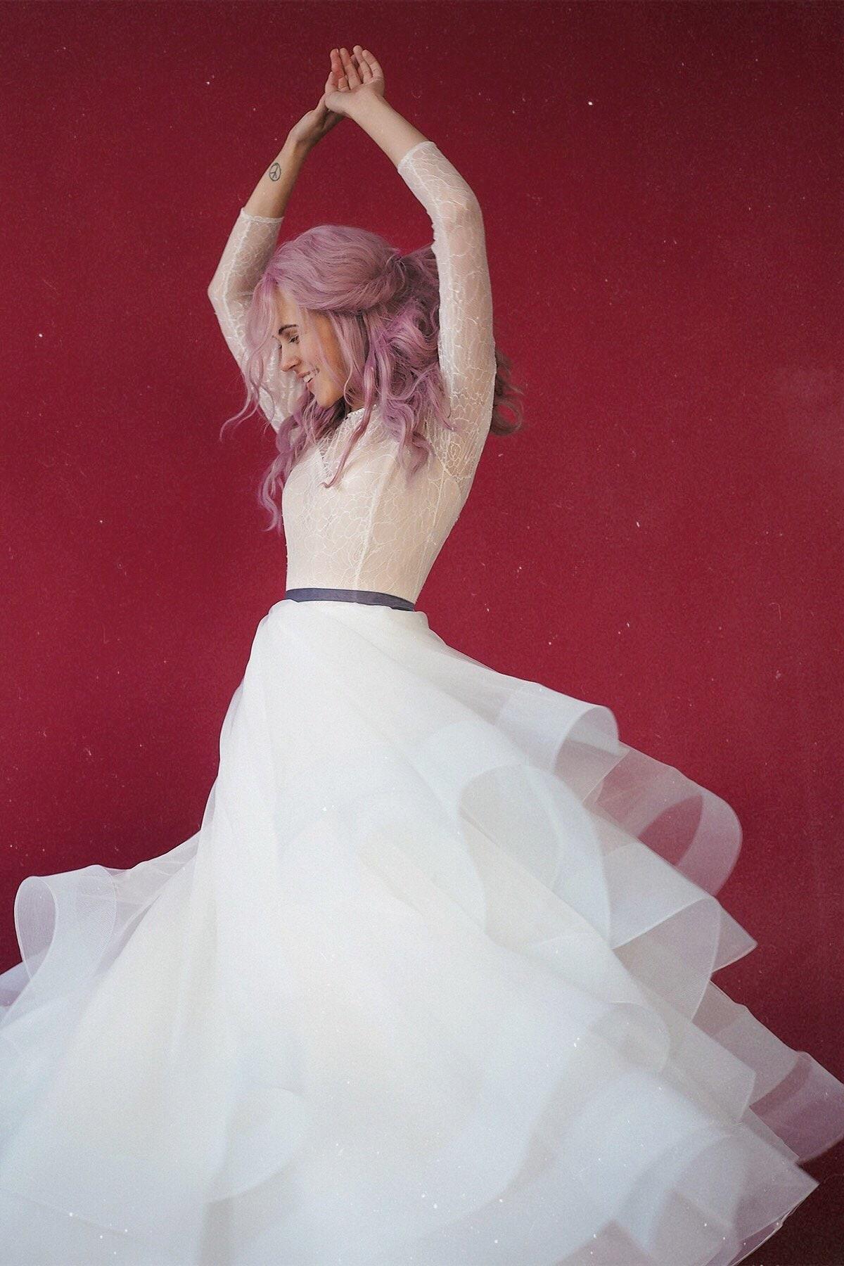 39e11ca97cb1f7 FREYA    Long-sleeved lace top corset wedding dress ball gown