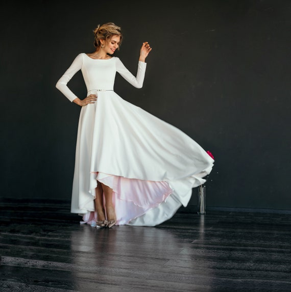 Makani High Low Skirt Modest Wedding Dress Crepe Bodice Etsy