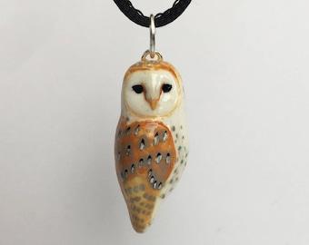 Barn Owl set of earrings and pendant (Tyto alba)
