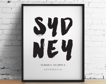Sydney Print Wall Art, Travel Poster, Australia Poster, Typographic Print, Monochrome Art, Black and White Art, Home Decor, Larger Sizes