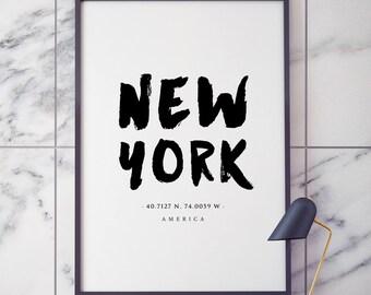 New York Print, New York Gift, New York Poster, Travel Poster, NYC Art, New York Wall Art Print, Typography Poster Art Home Decor