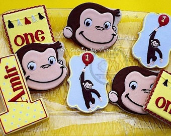 Curious George Cookie Cutter For Your 5th Year Birthday For Play-Doh Cookies Fondant Number Five 5th Year Curious George Party