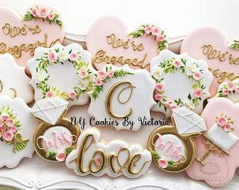 Engagement Cookies , Bridal Shower Cookies, Monogram Cookie, Engagement Ring Cookie, Bouquet Cookie, Wedding Cake Cookie, Wreath Cookie