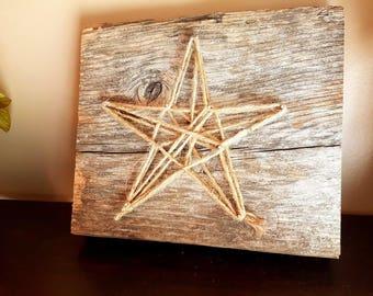 Authentic Barn Wood & Yarn Star Decoration