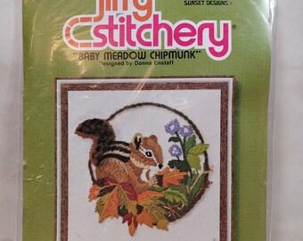 "Jiffy Stitchery ""Baby Meadow Chipmunk"" Vintage Crewel Stitch Kit  - Vintage 70s 80s"