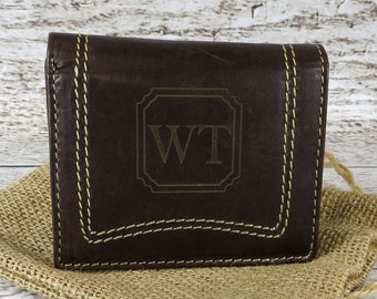 Unique Personalized Leather TriFold Wallet - Gifts for Him - Anniversary - Groomsman - Husband - Father's Day - White Stitching Accent
